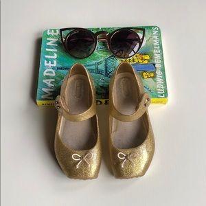 Mini Melissa | Gold Ballet Pointe Maryjanes | 9